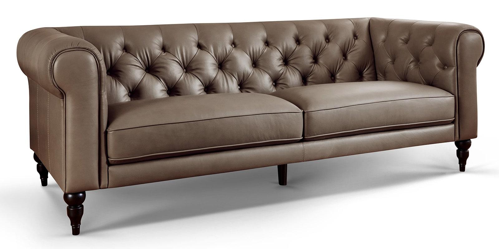 Moebella24 - 3-Sitzer - Sofa - Hudson - Chesterfield - Leder - Taupe - Dekorative - Nähte - und - Versteppungen - Detailaufnahme