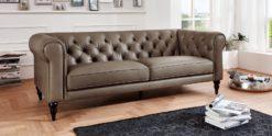 Moebella24 - 3-Sitzer - Sofa - Hudson - Chesterfield - Leder - Taupe - Dekorative - Nähte - und - Versteppungen