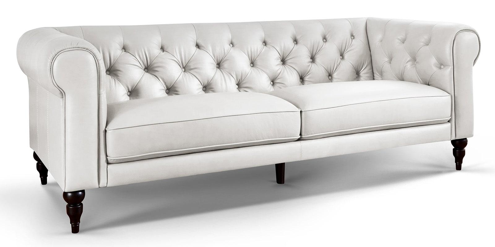 Moebella24 - 3-Sitzer - Sofa - Hudson - Chesterfield - Leder - Weiß - Dekorative - Nähte - und - Versteppungen - Detailaufnahme