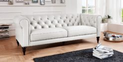 Moebella24 - 3-Sitzer - Sofa - Hudson - Chesterfield - Leder - Weiß - Dekorative - Nähte - und - Versteppungen