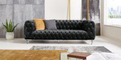 Moebella24 - Chesterfield - Sofa - Kristall - 3-Sitzer - Samt - Schwarz - Acryl - Füße - Knopfheftungen - Frontal