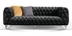 Moebella24 - Chesterfield - Sofa - Kristall - 3-Sitzer - Samt - Schwarz - Acryl - Füße - Knopfheftungen - Frontal - Detailaufnahme
