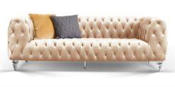 Moebella24 - Chesterfield - Sofa - Kristall - 3-Sitzer - Samt - Beige - Acryl - Füße - Knopfheftungen - Frontal - Detailaufnahme
