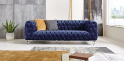 Moebella24 - Chesterfield - Sofa - Kristall - 3-Sitzer - Samt - Dunkelblau - Acryl - Füße - Knopfheftungen - Frontal