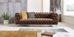 Moebella24 - Chesterfield - Sofa - Kristall - 3-Sitzer - Samt - Braun - Acryl - Füße - Knopfheftungen - Frontal