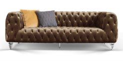 Moebella24 - Chesterfield - Sofa - Kristall - 3-Sitzer - Samt - Braun - Acryl - Füße - Knopfheftungen - Frontal - Detailaufnahme