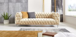 Moebella24 - Chesterfield - Sofa - Kristall - 3-Sitzer - Samt - Creme - Acryl - Füße - Knopfheftungen - Frontal