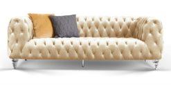 Moebella24 - Chesterfield - Sofa - Kristall - 3-Sitzer - Samt - Creme - Acryl - Füße - Knopfheftungen - Frontal - Detailaufnahme