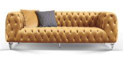 Moebella24 - Chesterfield - Sofa - Kristall - 3-Sitzer - Samt - Gold - Acryl - Füße - Knopfheftungen - Frontal - Detailaufnahme