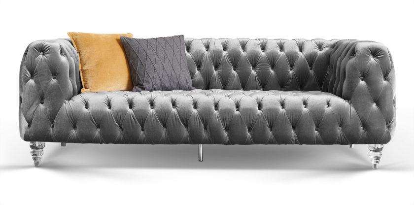 3-Sitzer Chesterfield Sofa Samt Acryl-Füße Kristall