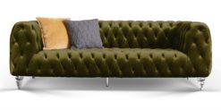 Moebella24 - Chesterfield - Sofa - Kristall - 3-Sitzer - Samt - Dunkelgrün - Acryl - Füße - Knopfheftungen - Frontal - Detailaufnahme