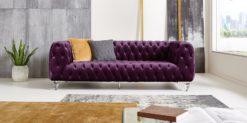 Moebella24 - Chesterfield - Sofa - Kristall - 3-Sitzer - Samt - Lila - Acryl - Füße - Knopfheftungen - Frontal