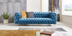 Moebella24 - Chesterfield - Sofa - Kristall - 3-Sitzer - Samt - Türkis - Acryl - Füße - Knopfheftungen - Frontal