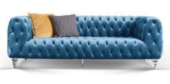 Moebella24 - Chesterfield - Sofa - Kristall - 3-Sitzer - Samt - Türkis - Acryl - Füße - Knopfheftungen - Frontal - Detailaufnahme
