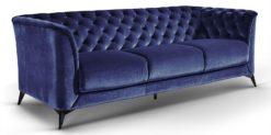 Moebella24 - Sofa Stella - 3-Sitzer Chesterfield Stil in blau