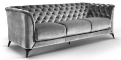 Moebella24 - Sofa Stella - 3-Sitzer Chesterfield Stil in grau