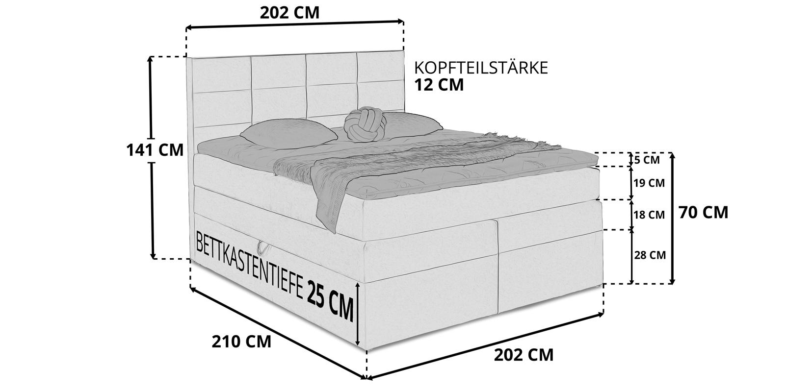 Boxspringbett Bettkasten Stauraum Bella 200x200 Skizze
