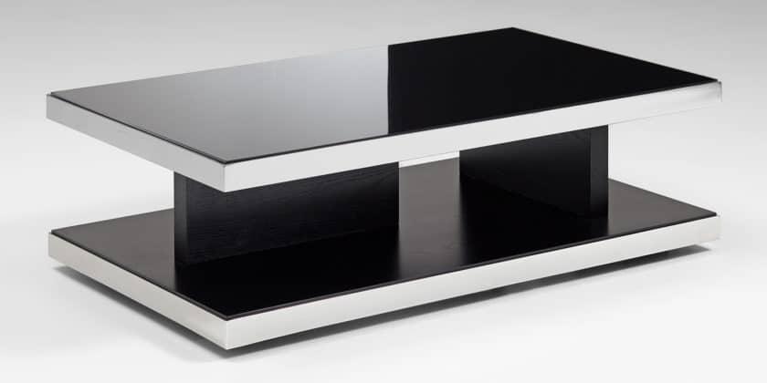 Designer Couchtisch Schwarz Glastisch Schwarzglas Moebella24