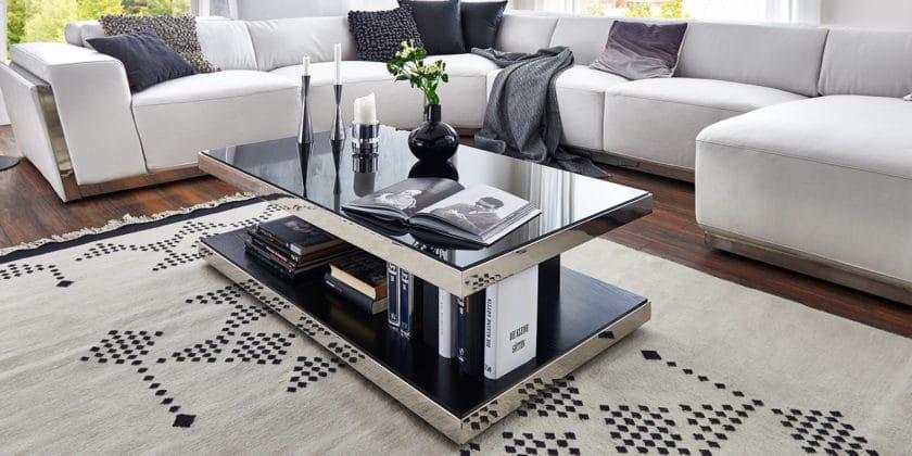 Glastisch schwarz  Designer Couchtisch schwarz Glastisch Schwarzglas | Moebella24