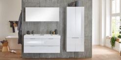 Moebella24 - Bad - set - mit - 2 - Waschbecken - Wales - Unterschrank - Seitenschrank - Spiegeschrank - Weiß - Hochglanz - Softclose - Frontal
