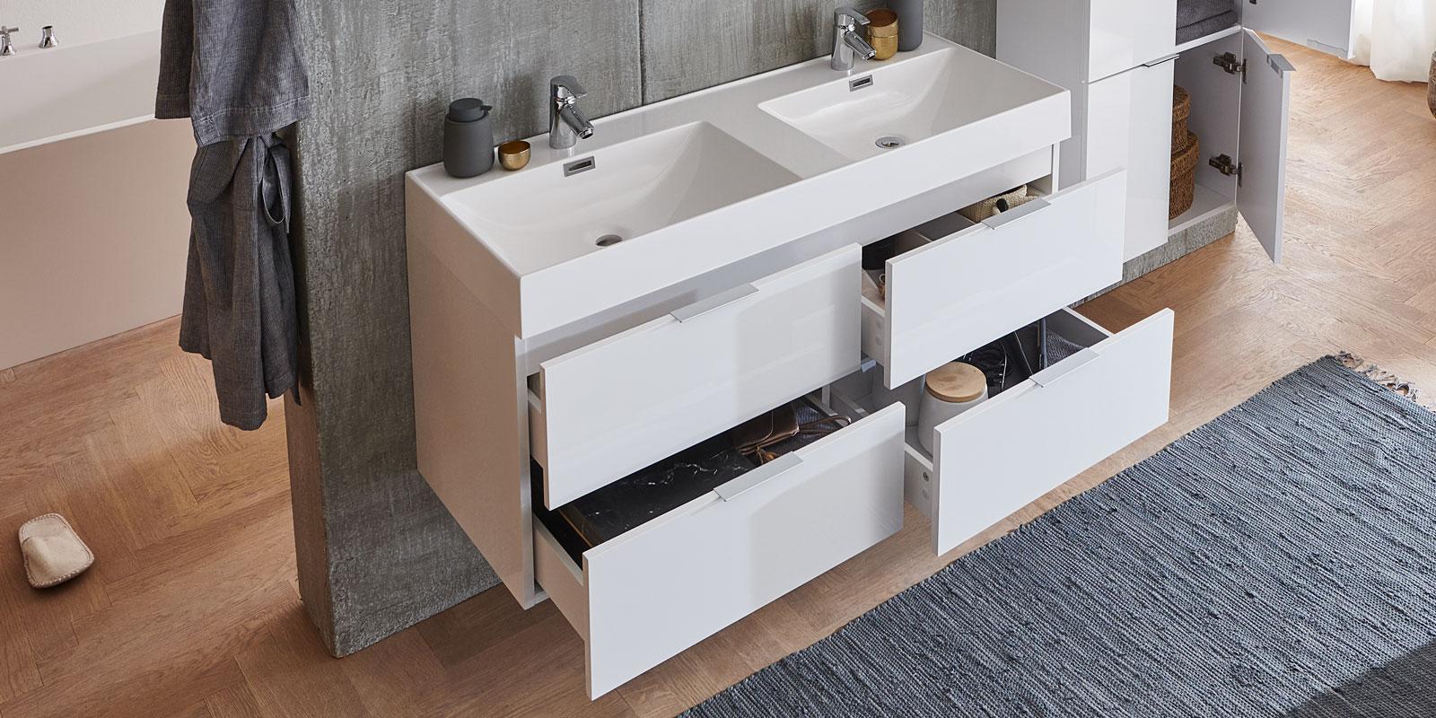 moebella24 - Bad - Set - Doppelwaschtisch - mit - Waschbecken - Lotus - Beschichtung - Weiß - Hochglanz - Schubladen - Soft - Close - Von - oben - Links