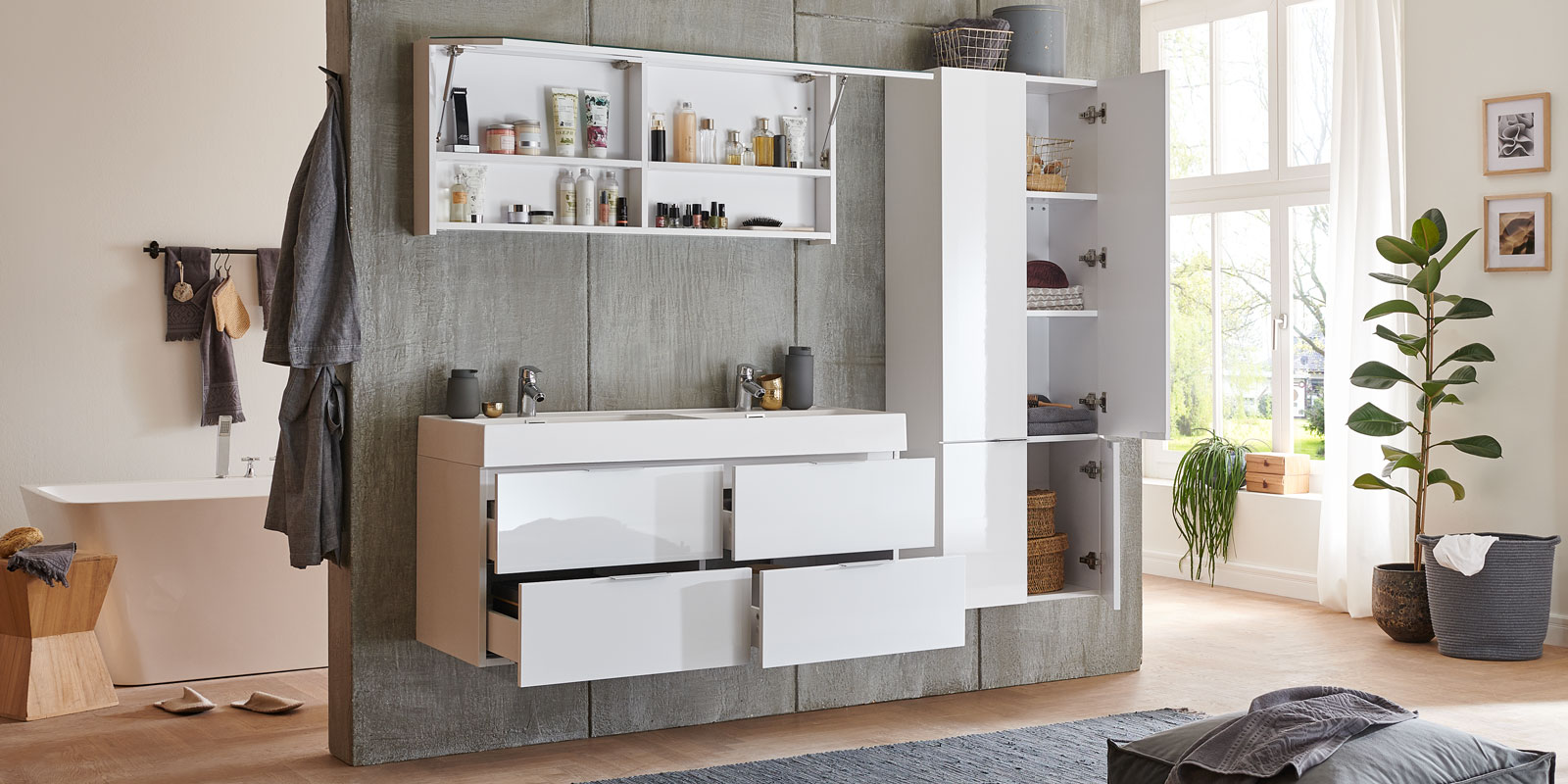 Moebella24 - Bad -Set - Doppelwaschtisch - mit - Waschbecken - Weiß - Hochglanz - Wales - Spiegelschrank - Seitenschrank - Frontal