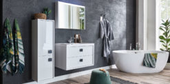 Moebella24 - Bad - Set - mit - Waschbecken - Mona - Weiß - Hochglanz - Spiegelschrank - Waschtisch - Seitenschrank - Led - Soft - Close - Frontal