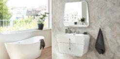Moebella24 - Sapri - Bad - Set - mit - Waschbecken - Weiß - Hochglanz -Vormontiert - Schrank - Spiegel - Vormontierte - Frontal