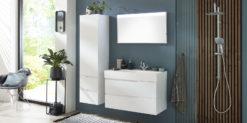 Moebella24 - Bad - Set - mit - Waschbecken - Waschtisch - Seitenschrank - Spiegel - Helsinki - Weiß - Hochglanz - Frontal