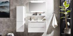 Moebella24 - Bad - Set- mit - Waschbecken - Waschtisch - Seitenschrank - Spiegel - Led - Weiß - Hochglanz - Frontal