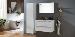 Moebella24 - Bad - Set - mit - Waschbecken - Waschtisch - Seitenschrank - Spiegel - Pariso - Weiß - Hochglanz - Frontal