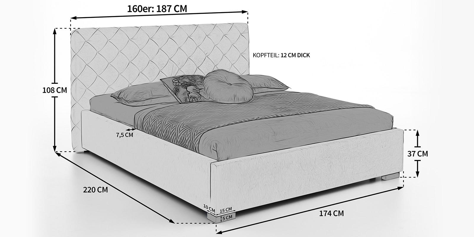 Moebella24 - Bet - mit - Bettkasten - Elsa - Skizze - Maße - 160x200cm -Samt - Polsterbett -