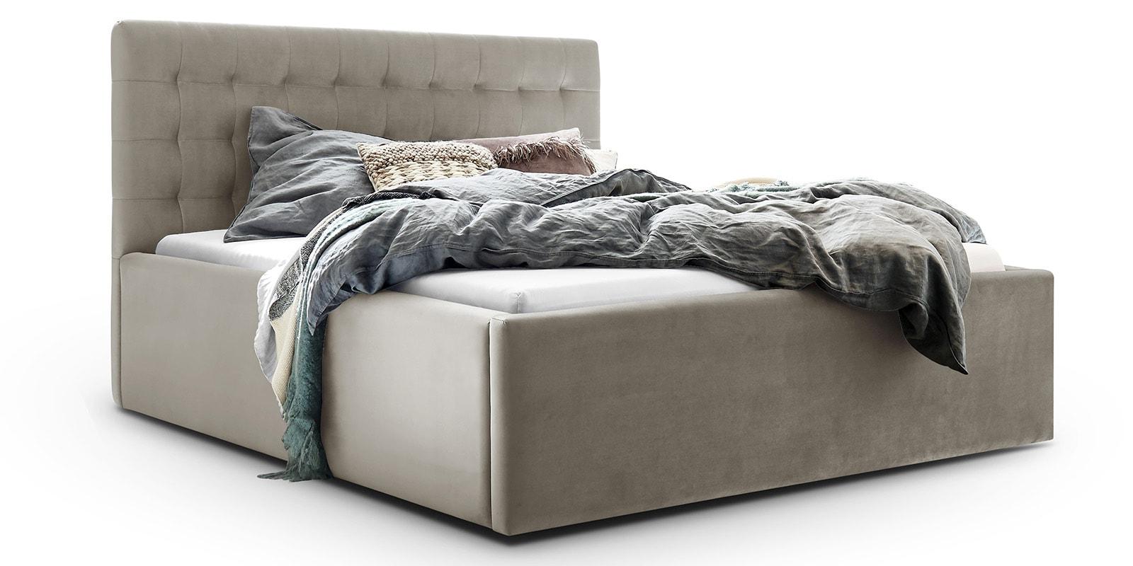 Moebella24 - Bett - mit - Bettkasten - Molly - Samt - Altweiß - Stauraum - Bettkasten - und - Lattenrost - vormontiert - verstärkte - Dämpfer - Detailaufnahme - Von - vorne - links