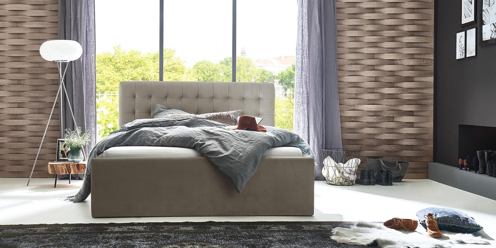 Moebella24 - Bett - mit - Bettkasten - Molly - Samt - Altweiß - Stauraum - Bettkasten - und - Lattenrost - vormontiert - verstärkte - Dämpfer - Frontal