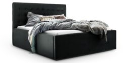 Moebella24 - Bett - mit - Bettkasten - Molly - Samt - Anthrazit - Stauraum - Bettkasten - und - Lattenrost - vormontiert - verstärkte - Dämpfer - Detailaufnahme - Von - vorne - links