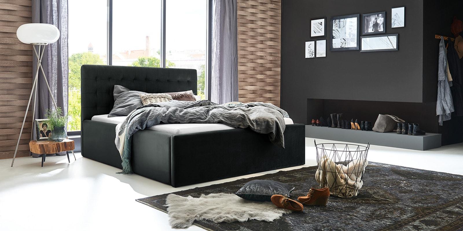 Moebella24 - Bett - mit - Bettkasten - Molly - Samt - Anthrazit - Stauraum - Bettkasten - und - Lattenrost - vormontiert - verstärkte - Dämpfer - Von - vorne - links