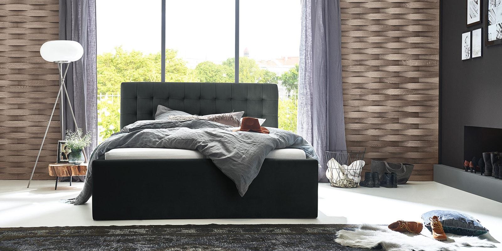 Moebella24 - Bett - mit - Bettkasten - Molly - Samt - Anthrazit - Stauraum - Bettkasten - und - Lattenrost - vormontiert - verstärkte - Dämpfer - Frontal