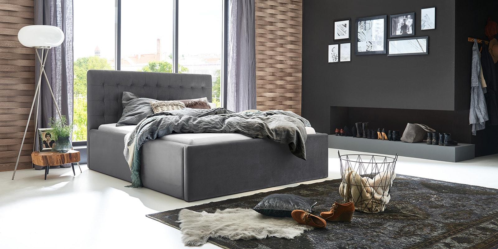 Moebella24 - Bett - mit - Bettkasten - Molly - Samt - Grau - Stauraum - Bettkasten - und - Lattenrost - vormontiert - verstärkte - Dämpfer - Von - vorne - links