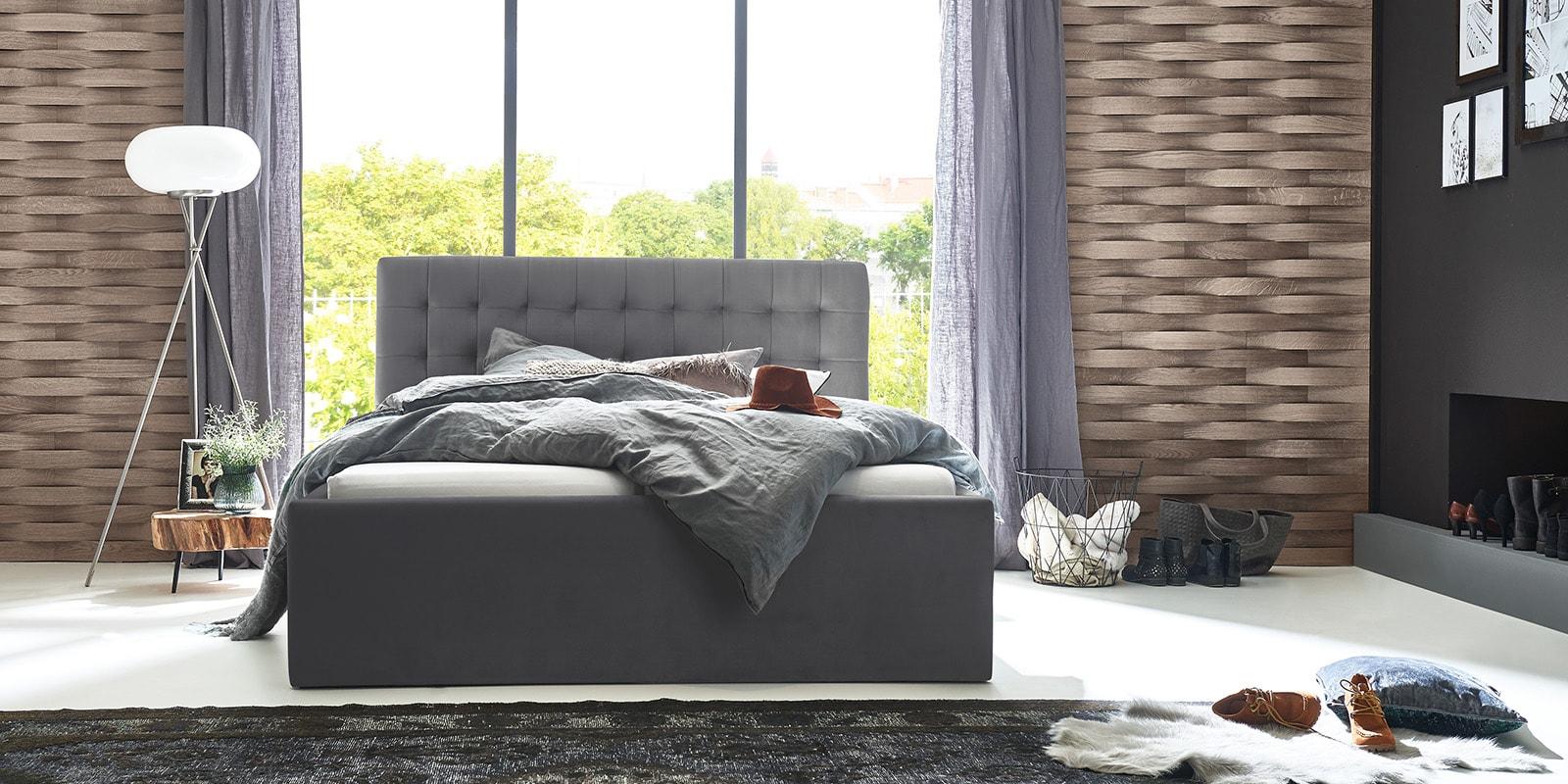 Moebella24 - Bett - mit - Bettkasten - Molly - Samt - Grau - Stauraum - Bettkasten - und - Lattenrost - vormontiert - verstärkte - Dämpfer - Frontal