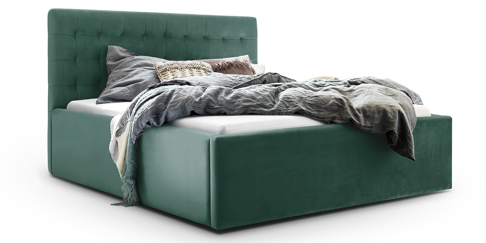 Moebella24 - Bett - mit - Bettkasten - Molly - Samt - Mint - Stauraum - Bettkasten - und - Lattenrost - vormontiert - verstärkte - Dämpfer - Detailaufnahme