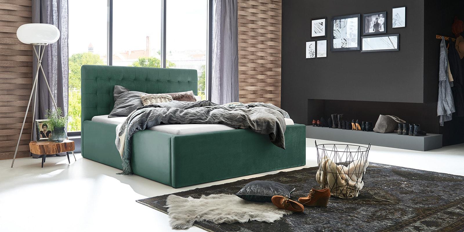 Moebella24 - Bett - mit - Bettkasten - Molly - Samt - Mint - Stauraum - Bettkasten - und - Lattenrost - vormontiert - verstärkte - Dämpfer - Von - vorne - links