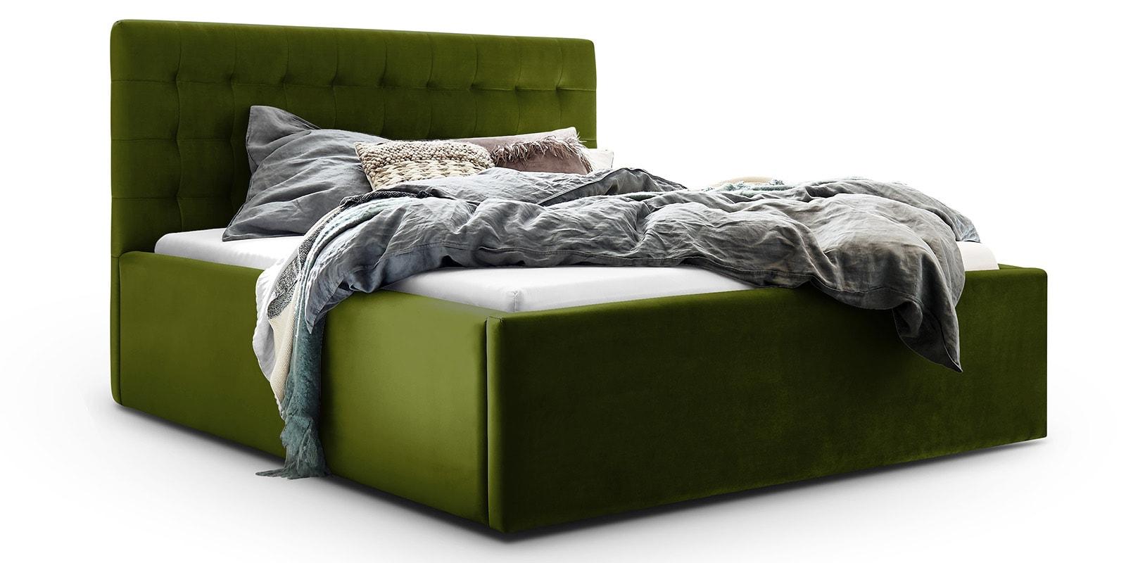 Moebella24 - Bett - mit - Bettkasten - Molly - Samt - Oliv - Stauraum - Bettkasten - und - Lattenrost - vormontiert - verstärkte - Dämpfer - Detailaufnahme - Von - vorne - links
