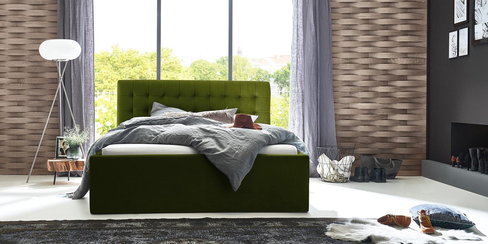 Moebella24 - Bett - mit - Bettkasten - Molly - Samt - Oliv - Stauraum - Bettkasten - und - Lattenrost - vormontiert - verstärkte - Dämpfer - Frontal