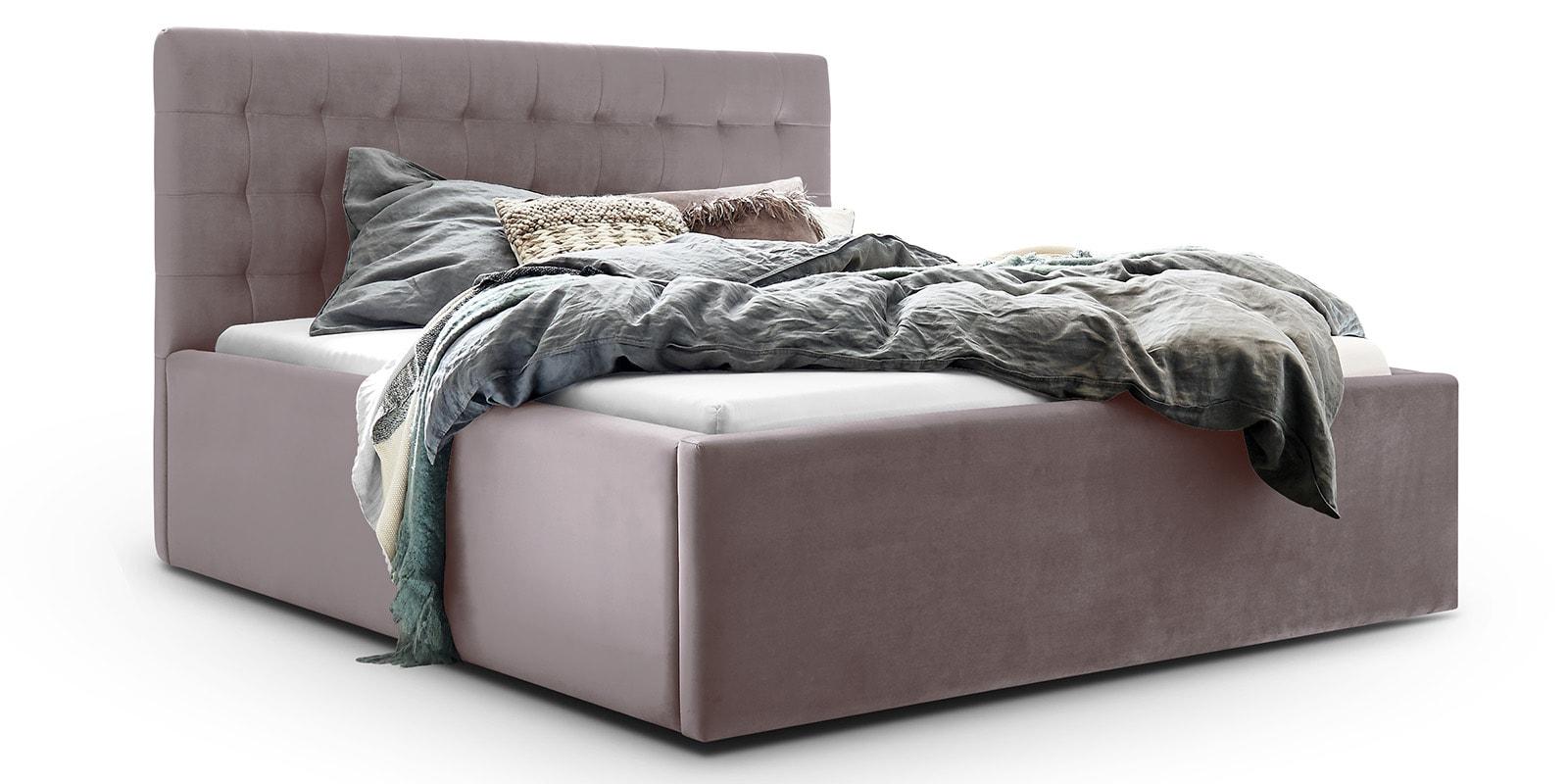 Moebella24 - Bett - mit - Bettkasten - Molly - Samt - Mint - Stauraum - Bettkasten - und - Lattenrost - vormontiert - verstärkte - Dämpfer - Detailaufnahme - Von - vorne - links