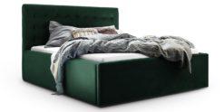 Moebella24 - Bett - mit - Bettkasten - Molly - Samt - Smaragd - Stauraum - Bettkasten - und - Lattenrost - vormontiert - verstärkte - Dämpfer - Detailaufnahme - Von - vorne - links