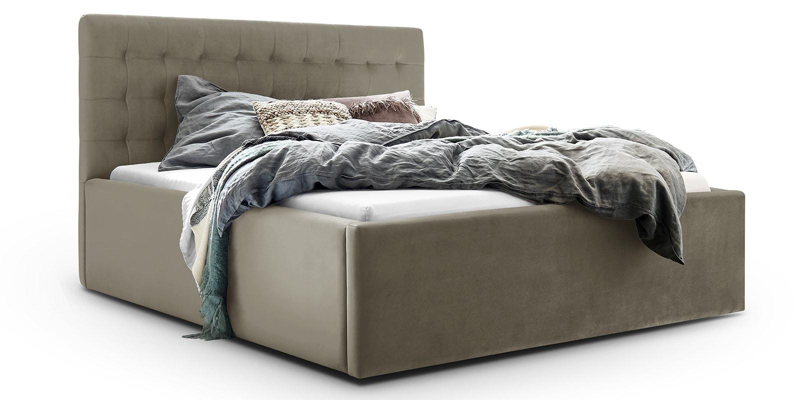 Moebella24 - Bett - mit - Bettkasten - Molly - Samt - Taupe - Stauraum - Bettkasten - und - Lattenrost - vormontiert - verstärkte - Dämpfer - Detailaufnahme - Von - vorne - links