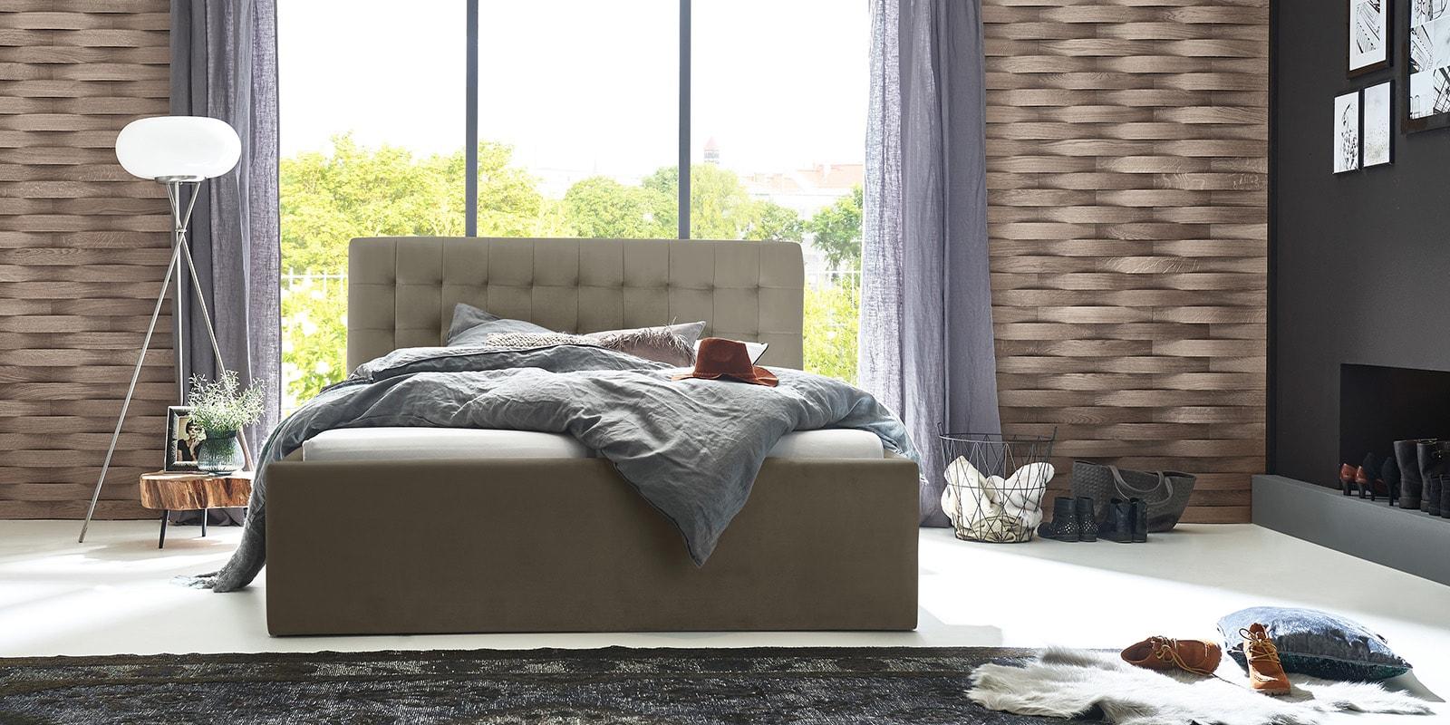 Moebella24 - Bett - mit - Bettkasten - Molly - Samt - Taupe - Stauraum - Bettkasten - und - Lattenrost - vormontiert - verstärkte - Dämpfer - Frontal