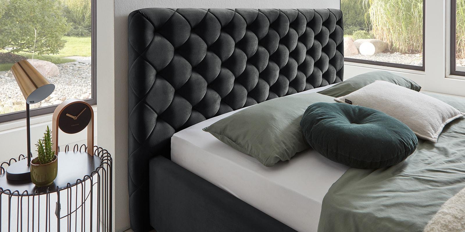 Moebella24 - Bett - mit - Bettkasten - Elsa - Samt - Anthrazit - Stauraum - Versteppungen - am - Kopfteil