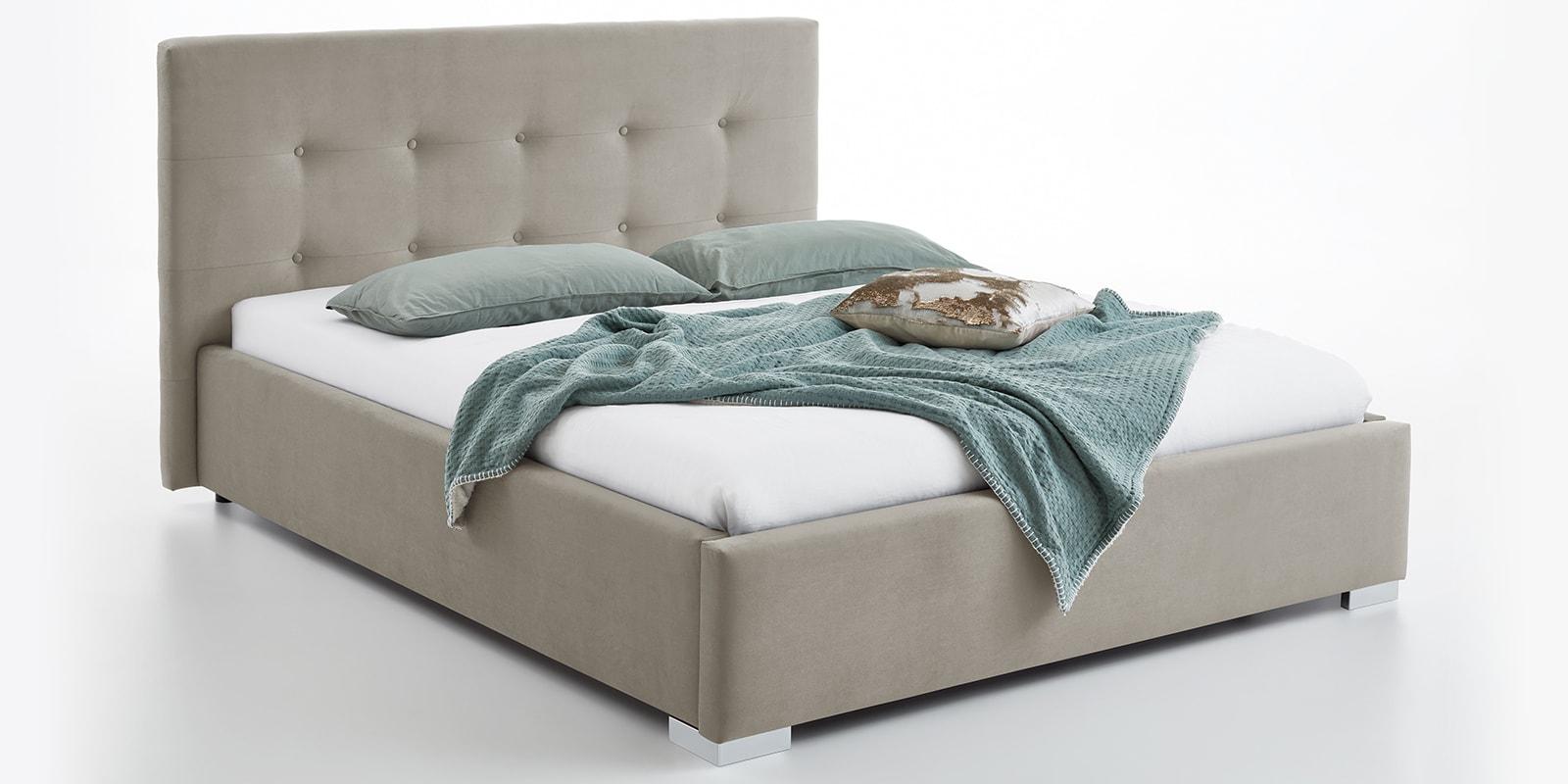 Moebella24 - Bett - mit - Bettkasten - Betty - Samt - Altweiß - Stauraum - Kopfteil - mit - Knopfheftung