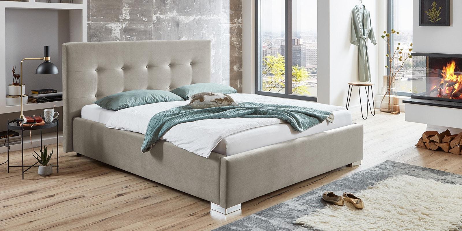 Moebella24 - Bett - mit - Bettkasten - Betty - Samt - Altweiß - Stauraum - Kopfteil - mit - Knopfheftung - Von - vorne - links